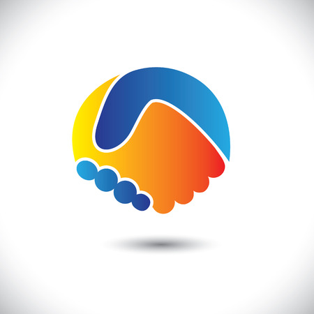 Concept vector graphic icon - business people or friends hand shake. This illustration can also represent new partnership, friendship, unity and trust, greeting & gestures, etc Vector