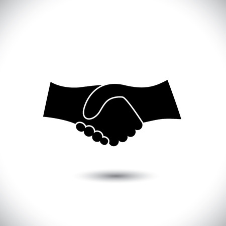 trust: Concept vector graphic icon - business hand shake in black & white. This illustration can also represent new partnership, friendship, unity and trust, greeting & gestures, etc