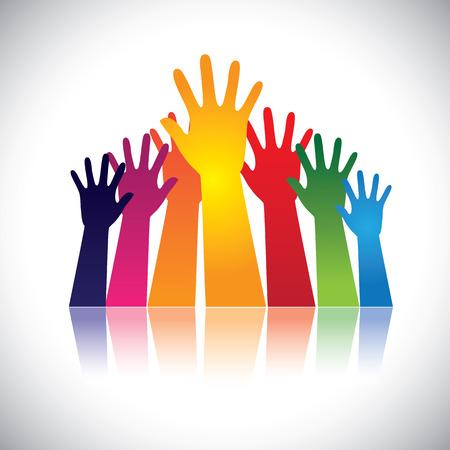 다채로운 추상 손 벡터는 단결을 보여주는 함께 제기했다. 이 그림은 또한 재생 행복한 아이들을 나타낼 수, 파티에서 사람들은, 사람들이 도움을 요청