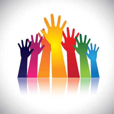 Colorful abstract hand vectors raised together showing unity. This graphic can also represent happy children playing, people at party, people asking help, employees protest and demonstration, etc Vector