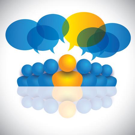 리더 및 리더십 개념 또는 관리자 및 사무실 직원. 벡터 그래픽은 아이들이, 직원의 논의를 말하는 사람들의 회의, 소셜 미디어의 상호 작용 및 참여를