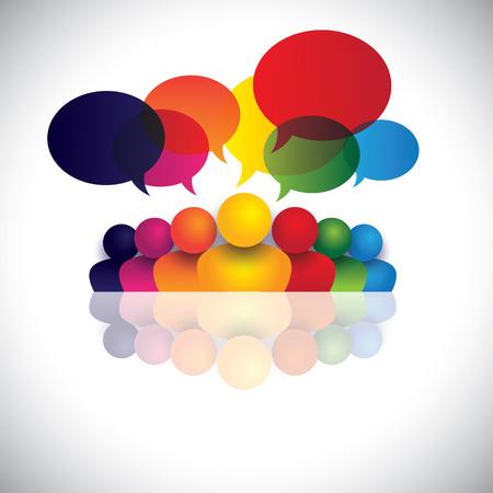 social media communicatie of kantoorpersoneel vergadering of kinderen praten. De vector graphic vertegenwoordigt ook mensen conferentie, social media interactie en betrokkenheid, kinderen praten, werknemer discussies