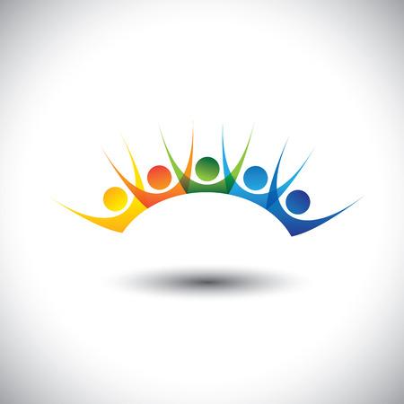 Kleurrijke gelukkige en enthousiast stel mensen genieten en plezier hebben. Deze vector graphic kunnen kinderen met een goede tijd vertegenwoordigen, vrienden partij, de leden enthousiast team, gelukkige medewerkers, tevreden klanten
