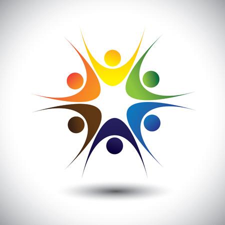 행복한 활기찬 공동체로서 사람들의 가까운 그룹의 개념. 벡터 그래픽은 또한 사람들이 학교 아이들 또는 아이 원, 컬러 풀 한 직원을 연주, 춤, 흥분