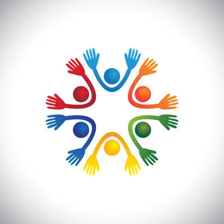 integridad: feliz, alegre y colorido los niños y los niños jugando juntos vectorial. El gráfico también puede representar a los niños en edad preescolar en una escuela infantil o reproducirHome, estudiantes o amigos que se divierten en una fiesta