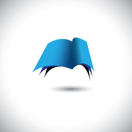 Concept vector - Open blue paper book icon with pages. The graphic can represent concepts like knowledge, learning, library, etc Stock Vector - 23655463