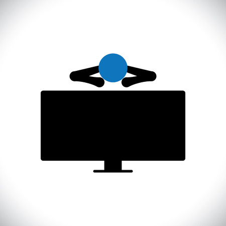 indulgent: icon of person or man watching tv programs on an large lcd television. The vector graphic also mans indulgent habits, person relaxing, seeing news, etc Illustration