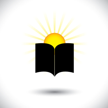 Open paper book or booklet icon with rising sun - concept vector. The graphic can represent concepts like knowledge, children starting schooling, improving knowledge, etc Stock Vector - 23655480