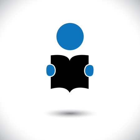 enhancing: student reading a book icon with his hands holding the booklet vector. The graphic can represent concepts like students reading, children learning, enhancing knowledge