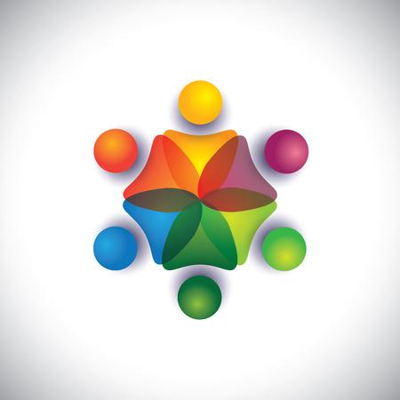 kleuterschool pre schoolkinderen en kinderen samen spelen. De grafische vector kan ook medewerkers eenheid, vakbond, kaderleden vergadering, vriendschap, teamwork en teamgeest te vertegenwoordigen Stock Illustratie