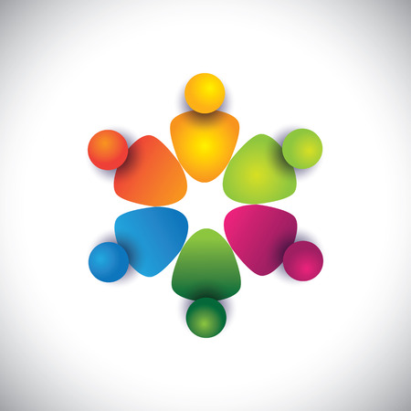 team spirit: friends & companions together in circle showing friendship. The vector graphic can also represent employees unity, workers union, executives meeting, friendship, team work & team spirit