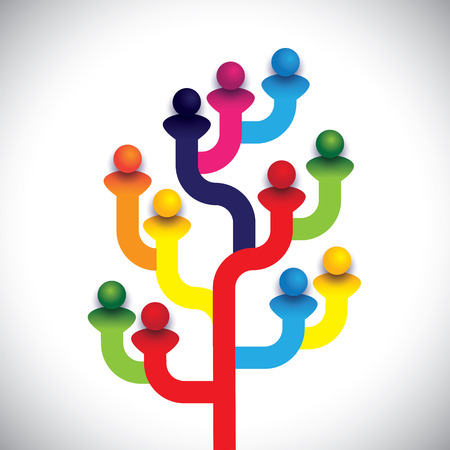 contributors: concept tree of company employees working together as a team. The vector graphic represents the structure of a company with people, relationship between close circle of family members Illustration