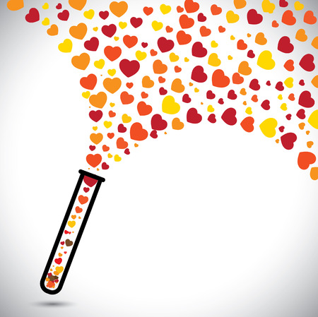 abstract colorful heart symbols created from test tube. This vector graphic also represents valentine's day, unlimited, love, unconditional love, infinite love, etc