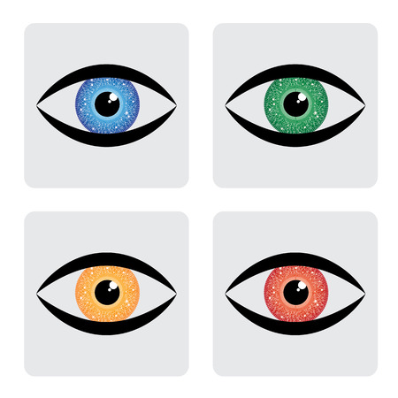 red, yellow, blue green human eye icons with circuit in iris. The vector graphic represents concept of futuristic, robot like, modern eye with colorful iris