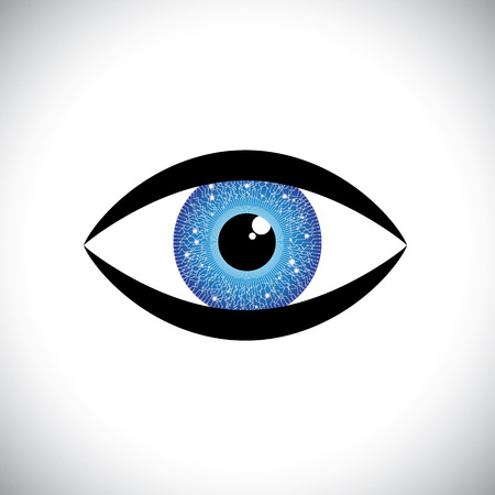 hypnotizing: beautiful blue color human eye icon with tech circuit in iris. The vector graphic represents concept of futuristic, robot like, modern eye with relection in the iris Illustration