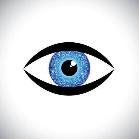 seres humanos: Icono de hermoso color azul ojo humano con circuito de tecnolog�a en iris. El gr�fico vectorial representa el concepto de robot futurista como, ojo, moderno, con relection en el iris