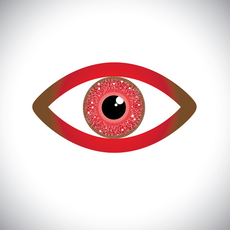 hypnotizing: abstract red color human eye sign with circuit in iris. The vector graphic represents concept of futuristic, robot like, modern eye with vision of hitech future