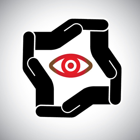 assure: protection or safety of eye and sight concept vector. The graphic also represents eye-care, safe & sound vision, etc