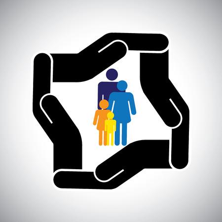 fend: protezione o di sicurezza della famiglia di padre, madre, figli concetto di vettore.