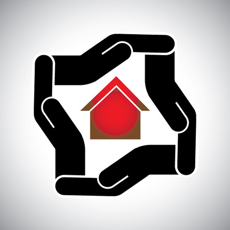 realty residence: protection or safety of house or home or  property concept vector.