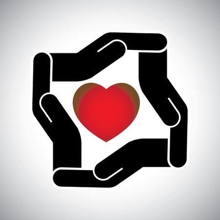 avoiding: protection or safety of human heart concept vector. The graphic also represents long married life, protection of heart and health, avoiding love failure & broken heart, etc
