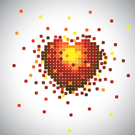 fillings: love heart symbol made of paper pieces in red, yellow & orange colors. This vector graphic represents concept of romance building up or passionate love between man & woman, marriage relationship, etc
