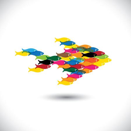 juntos: Colorido da escola de peixes que nadam em conjunto - conceito de vetor. Este gr