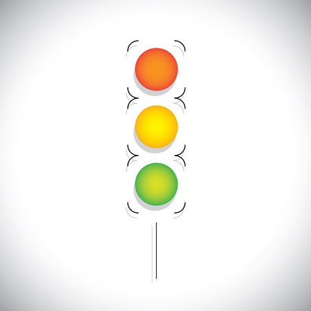 abstract traffic signal with red, orange & green lights.