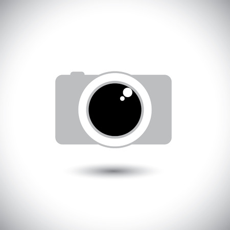 reflex: abstract digital camera icon with lens & shutter - front view.