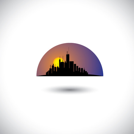 This graphic concept represents a modern city downtown skyscrapers in the mornings & evenings Stock Vector - 23866356