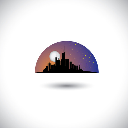 abstract city skyline silhouette with moon, stars sky. Stock Vector - 23866433