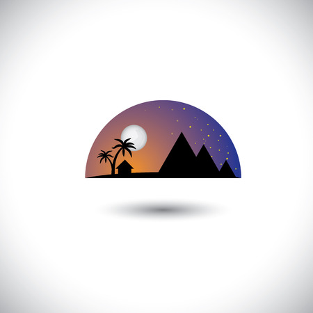 landscape of a village  at night with  house, trees & mountains. Stock Vector - 23866434