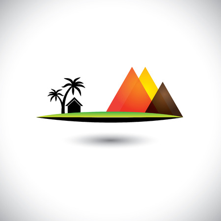 simple house: landscape of a village with simple house, trees & mountains.