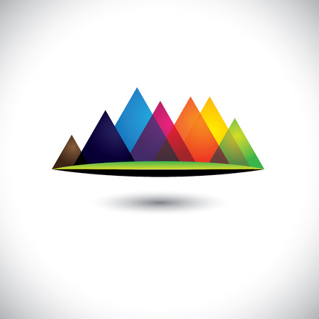ranges: abstract colorful hills & mountain ranges & grassland icon.  Illustration