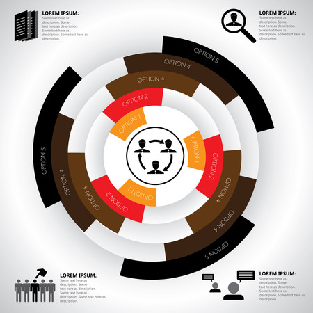 manpower: company, manpower, employment & job related infographics vector. This graphic template also represents corporate human resources, employee management, social media, candidate search & selection, etc Illustration