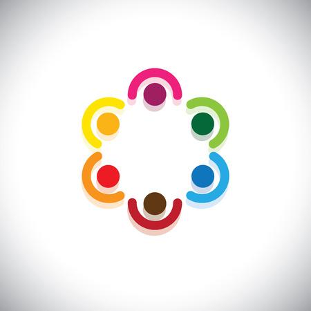 Vector children: đội ngũ nhân viên đáp ứng trong vòng tròn - làm việc theo nhóm khái niệm vector. đồ họa trừu tượng này đại diện cho sự đa dạng và sự đoàn kết, chia sẻ và hỗ trợ, liên minh cộng đồng, trẻ em và trẻ em trong trường học, vv Hình minh hoạ