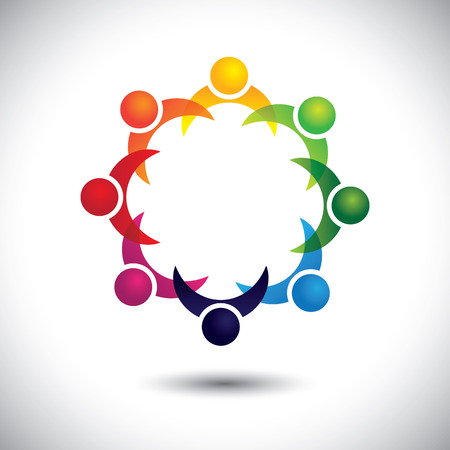 friends & other people partying together - entertainment concept vector. This abstract graphic also represents support group meeting, students learning, community unity, management strategy & planning Vettoriali