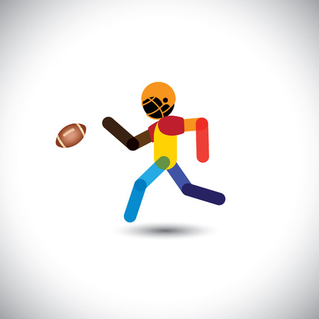 sportsperson: colorful vector of a american football player running for ball. This abstract graphic can also represent sportsperson training, people playing at leisure, etc