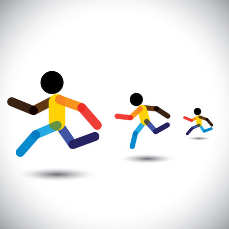 cardio workout: colorful vector icons of sprint athletes racing in a competition. This abstract graphic can also represent person winning the challenge, cardio workouts, health training, running marathon, etc Illustration