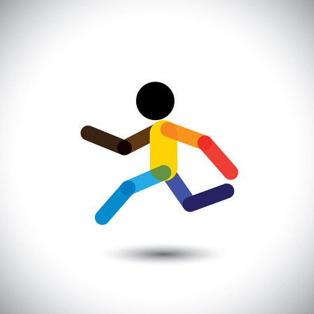 track and field: colorful vector icon of a person jogging for better health. This abstract graphic can also represent an athlete winning the challenge, cardio workouts, health training, running marathon, etc