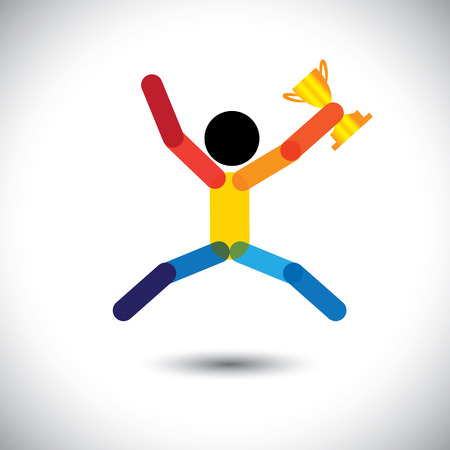 feat: colorful vector icon of a person celebrating winning. This abstract graphic can also represent an athlete achieving victory in sports championship, company executive winning best employee award