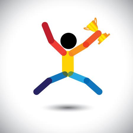 reconocimiento: icono colorido del vector de una persona que celebra la victoria. Este resumen gráfico también puede representar una victoria atleta lograr en el campeonato de los deportes, ejecutivo de la empresa de ganar el premio al mejor empleado