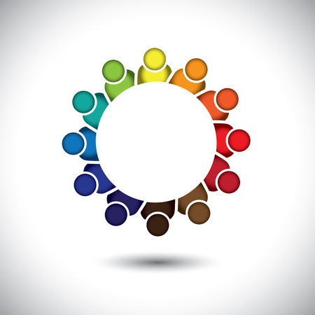 cooperative: kindergarten pre-school kids or children playing - concept vector. This abstract graphic also represents support group meeting, students learning, community unity, management strategy & planning Illustration