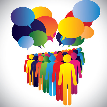 opinions: Concept vector - company employees interaction & communication. This graphic can also represent leadership concept, teamwork, meeting, employee discussions, people expressing opinions, group chat, etc Illustration