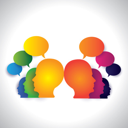 social media concept: people chatting, discussing on social media - concept vector  This abstract graphic can also represent executive team meeting, employees discussions, networking, community interaction, internet chat