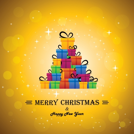christmas festive celebrations with gift boxes as xmas tree - vector. The concept graphic can represent festivals like x-mas, new year, birthday & wedding events other personal events Vector