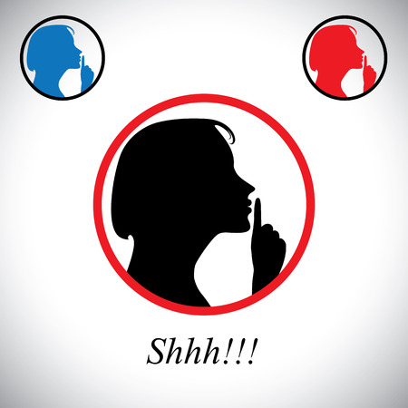 girl gesturing silence saying shh using her hand - concept vector. This graphic contains a young woman raising her forefinger to her lips indicating to stop talking, making noise & to be silent Vector
