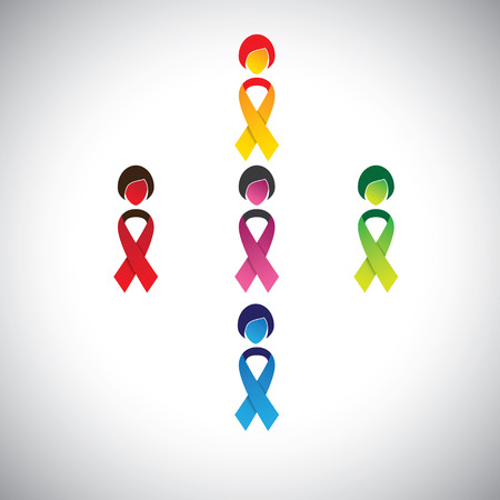 abstract girls with colorful cancer prevention bows as body - vector. This graphic contains womans body as cancer ribbon bow & a female face indicating protection & safeguarding against breast cancer Vector