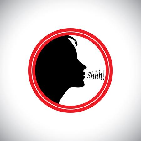 サイレント: young woman saying shh to silence other peoples noise - concept vector. This graphic contains a young girl whispering words shhh to stop talking & making noise & to be silent  イラスト・ベクター素材