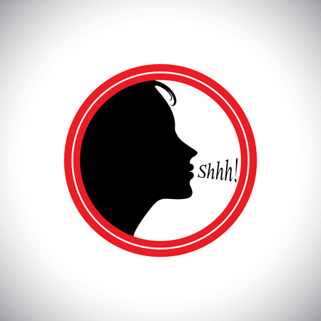hush: young woman saying shh to silence other peoples noise - concept vector. This graphic contains a young girl whispering words shhh to stop talking & making noise & to be silent Illustration